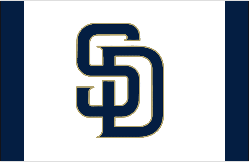 San Diego Padres Logo Batting Practice Logo (2014-2019) - Navy blue interlocking SD logo trimmed in gold, worn on a white and navy blue cap as the San Diego Padres alternate batting practice cap beginning in 2014 SportsLogos.Net