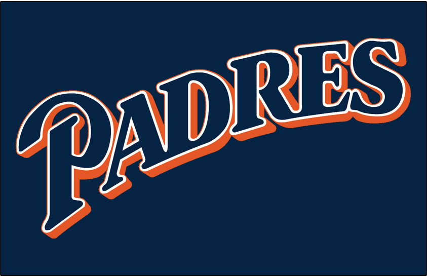 San Diego Padres Logo Jersey Logo (1997-2003) - (Alternate) Padres script sloped in blue with white and orange outlines on blue SportsLogos.Net