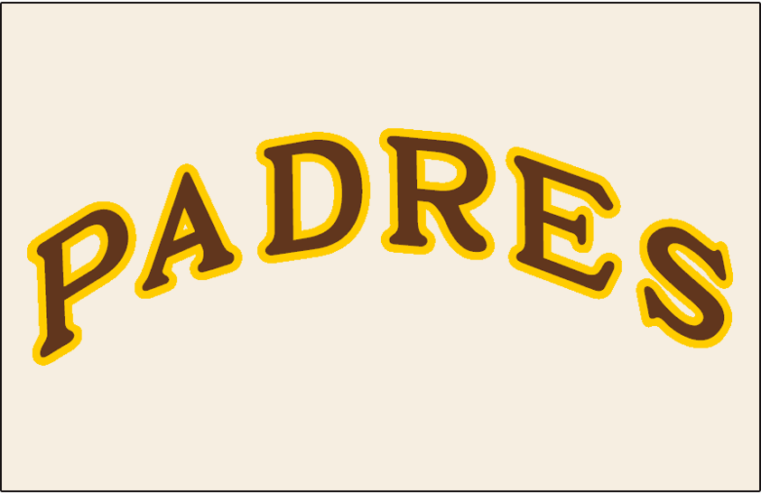 San Diego Padres Logo Jersey Logo (1969-1971) - Padres arched in brown with yellow outline on an off-white jersey, worn on Padres home jersey from 1969 through 1971 SportsLogos.Net