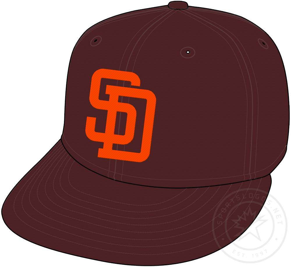 San Diego Padres Cap Cap (1985-1990) - Brown cap with SD in orange, worn as Padres primary home and road cap from 1985 to 1990 SportsLogos.Net