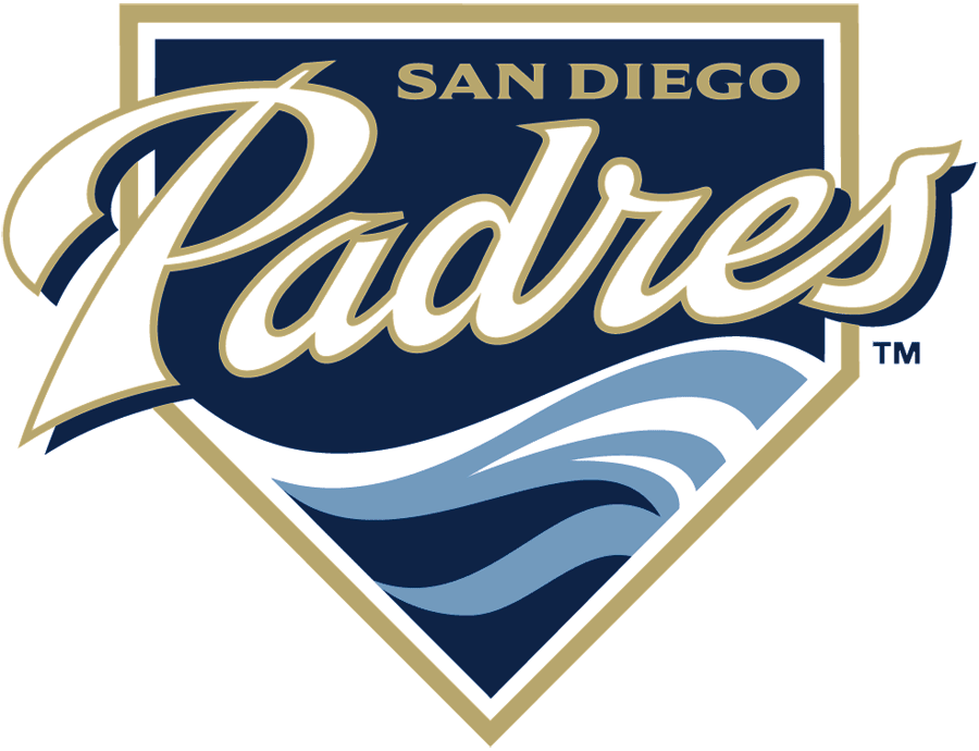 San Diego Padres Logo Primary Logo (2004-2010) - Padres in white and sand above waves on a navy home plate SportsLogos.Net