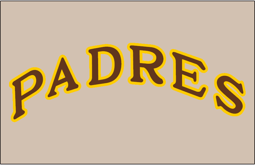 San Diego Padres Logo Jersey Logo (1969-1970) - Padres arched in brown with yellow outline on grey jersey, worn on Padres road jersey in 1969 and 1970 SportsLogos.Net