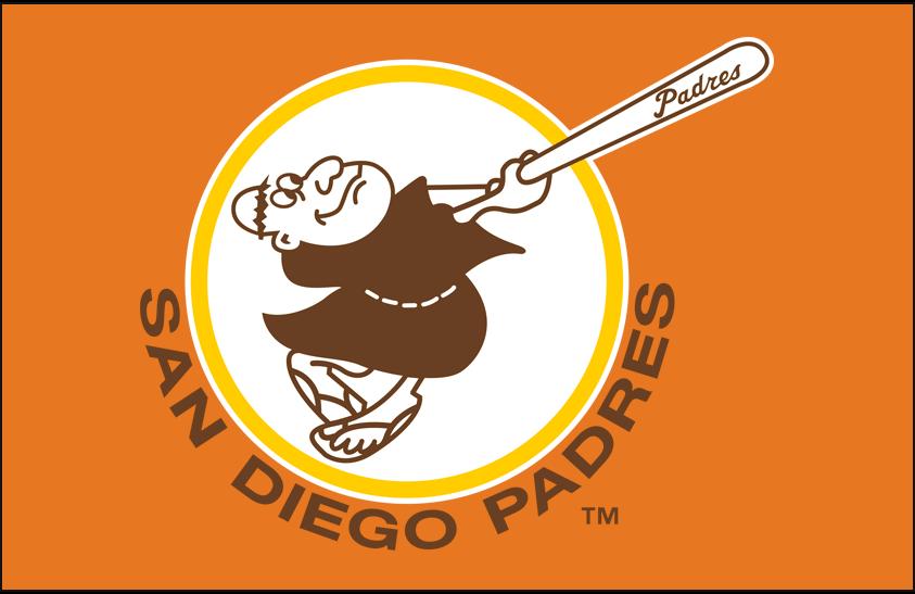 San Diego Padres Logo Primary Dark Logo (1980-1984) - San Diego Padres primary logo on orange SportsLogos.Net