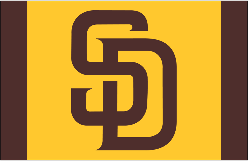 San Diego Padres Logo Cap Logo (2016-2019) - SD in brown on a yellow and brown cap, worn with Padres Friday home alternate caps starting in 2016 SportsLogos.Net