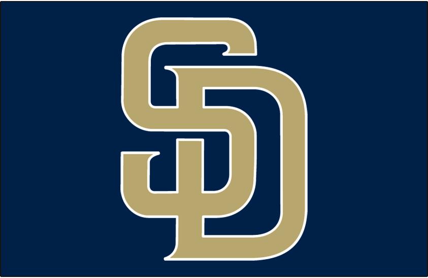 San Diego Padres Logo Cap Logo (2004-2011) - (Road/Alt) Interlocking SD in sand with white outline on navy SportsLogos.Net