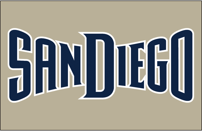 San Diego Padres Logo Jersey Logo (2004-2010) - (Road) San Diego in navy with a white outline on a sand-colored uniform SportsLogos.Net