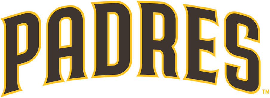 San Diego Padres Logo Wordmark Logo (2020-Pres) - PADRES arched in brown trimmed in gold SportsLogos.Net