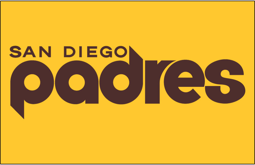 San Diego Padres Logo Jersey Logo (1978) - Padres in brown, San Diego above, on a yellow jersey. Worn on Padres alternate home uniform in 1978 only SportsLogos.Net