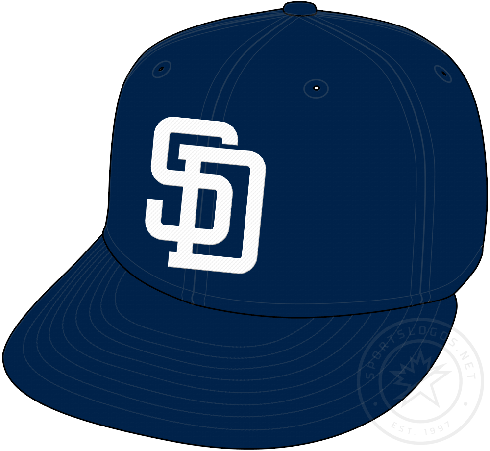 San Diego Padres Cap Cap (1998-2003) - Navy blue cap with SD in white, worn as Padres alternate cap from 1998 to 2003 SportsLogos.Net