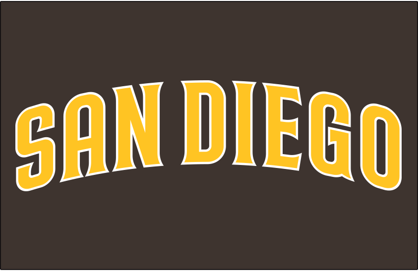 San Diego Padres Logo Jersey Logo (2020-Pres) - SAN DIEGO arched in gold trimmed in white, worn on a brown jersey as the Padres primary road uniform beginning in 2020 SportsLogos.Net
