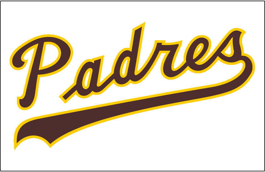 San Diego Padres Logo Jersey Logo (1974-1977) - Padres scripted in brown and yellow on a white jersey, worn on Padres home uniform from 1974 through 1977 SportsLogos.Net