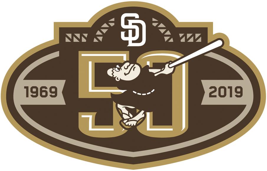 San Diego Padres Logo Anniversary Logo (2019) - San Diego Padres 50th anniversary logo in brown, worn on right sleeve of alternate brown camouflage jersey in 2019 SportsLogos.Net