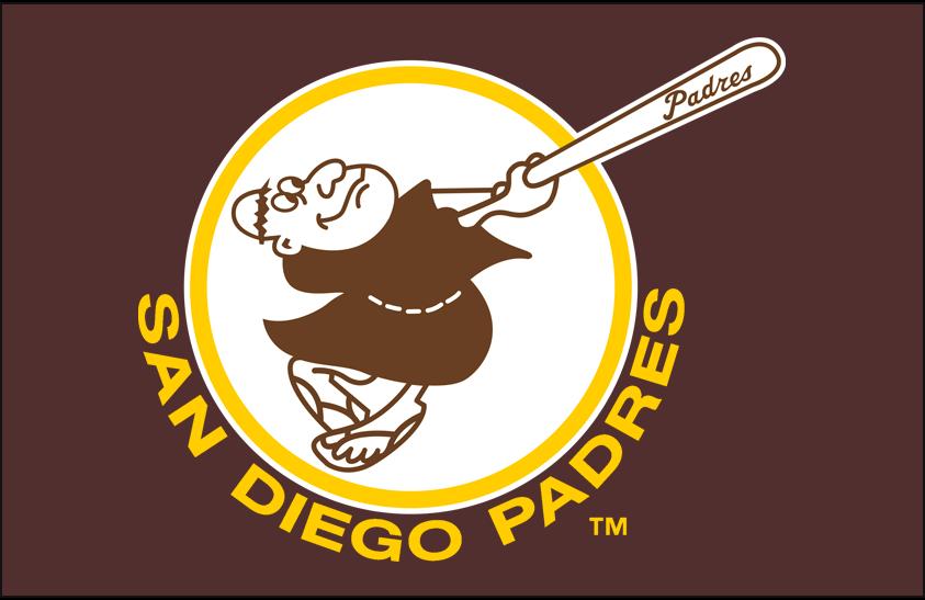 San Diego Padres Logo Primary Dark Logo (1972-1979) - San Diego Padres primary logo on dark brown SportsLogos.Net