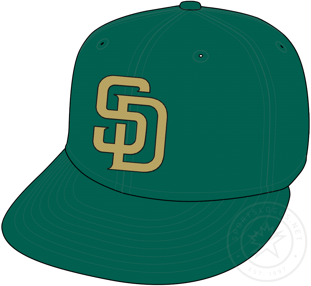 San Diego Padres Cap Cap (2007-2010) - Green cap with SD in tan and black, worn with Padres camouflage uniforms from 2007 to 2010 SportsLogos.Net