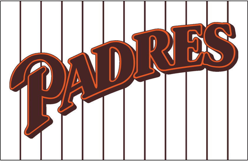 San Diego Padres Logo Jersey Logo (1985-1990) - (Home) Padres in brown with orange outline upsloped on brown pinstripes SportsLogos.Net