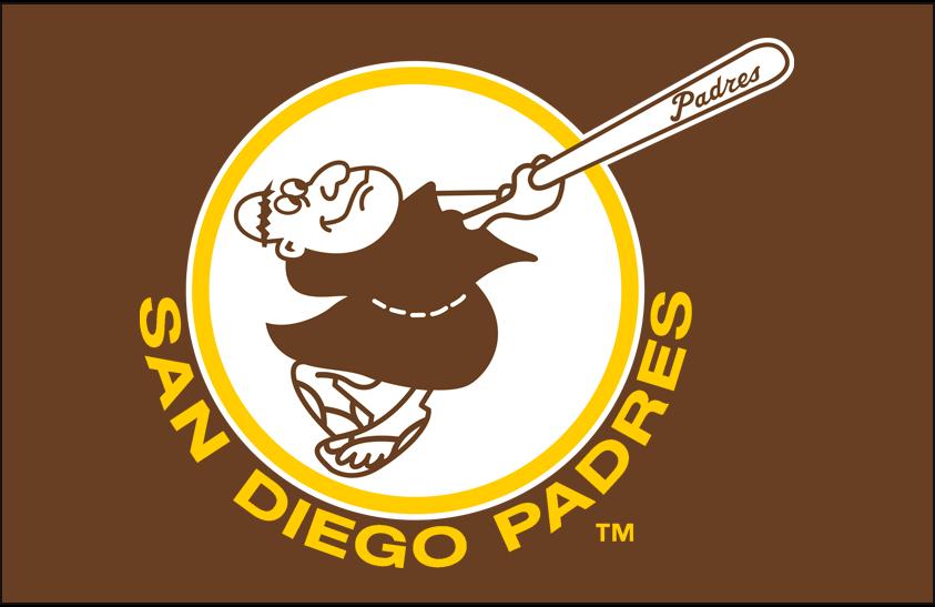 San Diego Padres Logo Primary Dark Logo (1969-1984) - San Diego Padres primary logo on light brown SportsLogos.Net