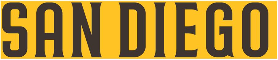 San Diego Padres Logo Wordmark Logo (2020-Pres) - SAN DIEGO presented straight in brown trimmed in gold SportsLogos.Net