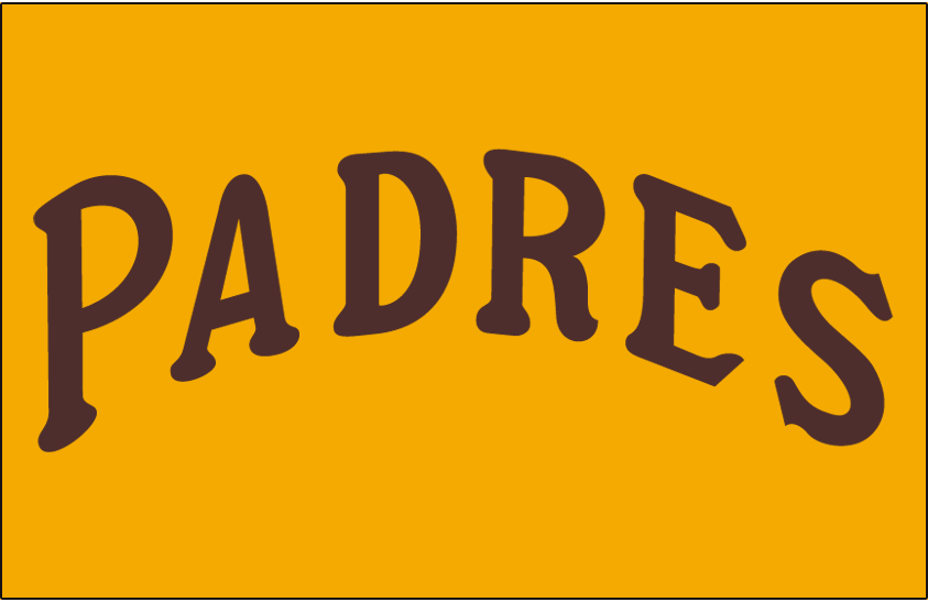 San Diego Padres Logo Jersey Logo (1972-1973) - Padres arched in brown on a yellow jersey, worn on Padres home uniform in 1972 and 1973 SportsLogos.Net