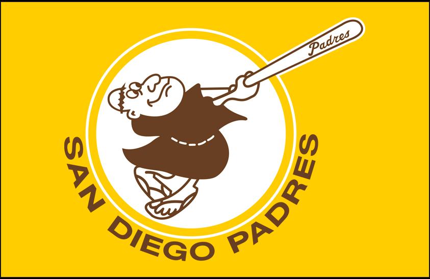San Diego Padres Logo Primary Dark Logo (1969-1984) - San Diego Padres primary logo on yellow SportsLogos.Net