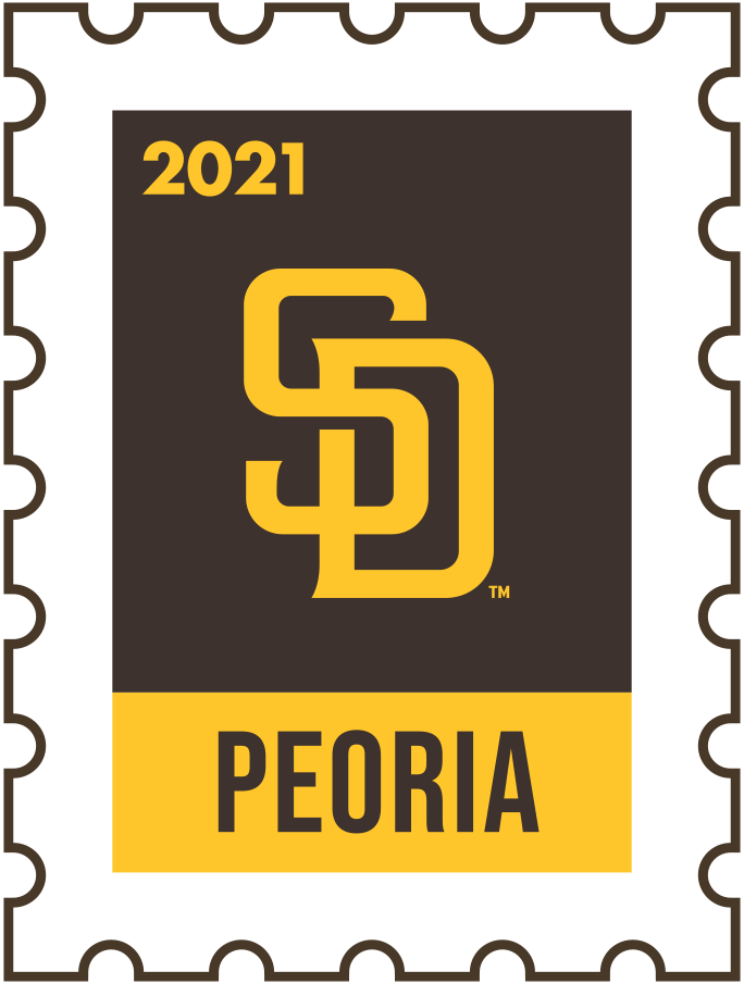 San Diego Padres Logo Event Logo (2021) - The San Diego Padres 2021 Spring Training logo, the design follows a league-wide style using a postage stamp in team colours with the team logo in the middle. SportsLogos.Net