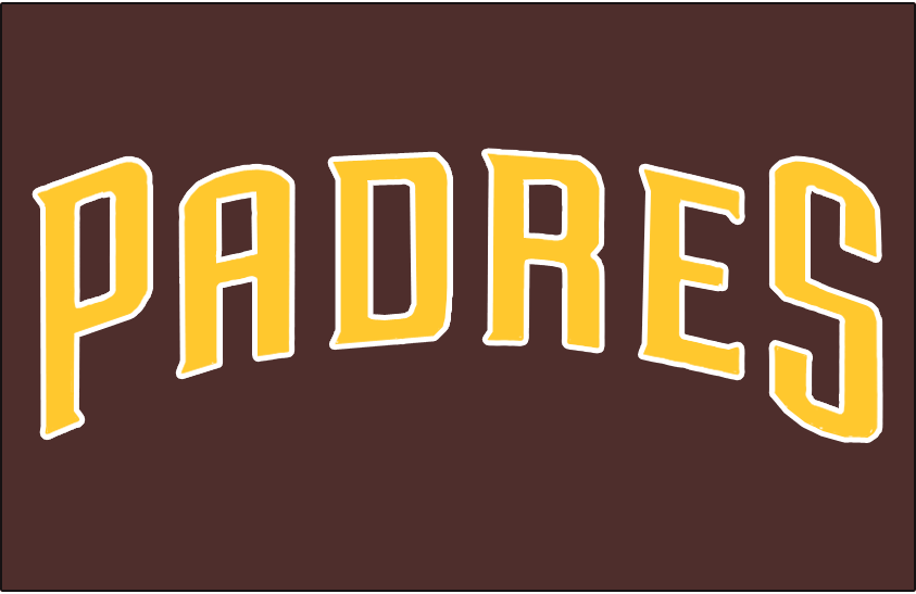 San Diego Padres Logo Jersey Logo (2016-2019) - PADRES arched in yellow on brown, worn on Padres home Friday alternate jerseys starting in 2016 SportsLogos.Net