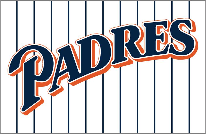 San Diego Padres Logo Jersey Logo (1991-2001) - (Home) Padres script sloped in blue with orange outline on blue pinstripes SportsLogos.Net