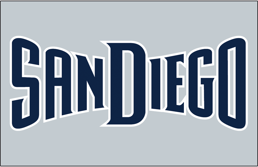 San Diego Padres Logo Jersey Logo (2011) - (Road) San Diego in navy with a white outline on grey SportsLogos.Net