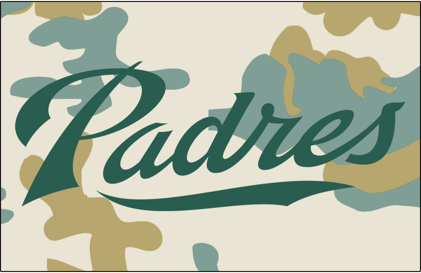 San Diego Padres Logo Jersey Logo (2007-2010) - (Alt) Padres in green on camouflage SportsLogos.Net