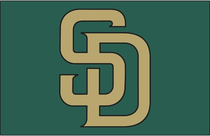 San Diego Padres Logo Cap Logo (2007-2010) - (Alt) Interlocking SD in sand with black outline on green SportsLogos.Net