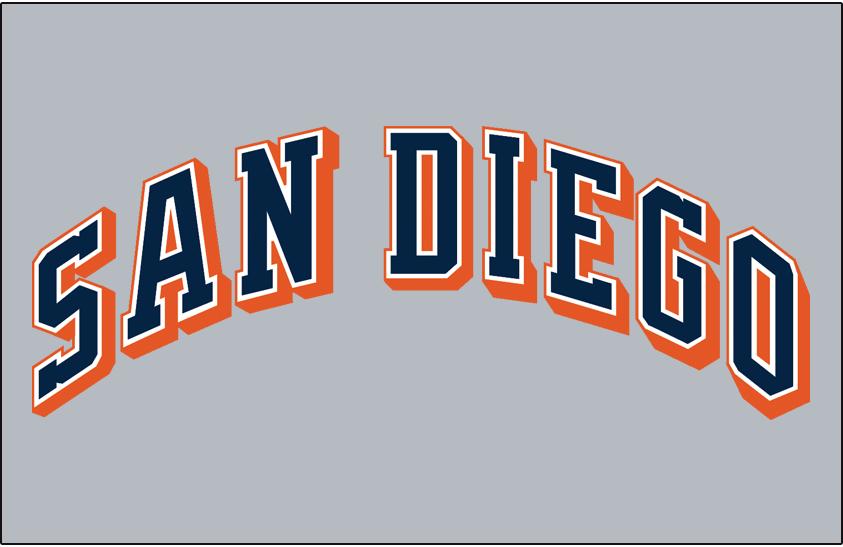 San Diego Padres Logo Jersey Logo (1991-2003) - (Road) San Diego in blue with orange outline on grey SportsLogos.Net