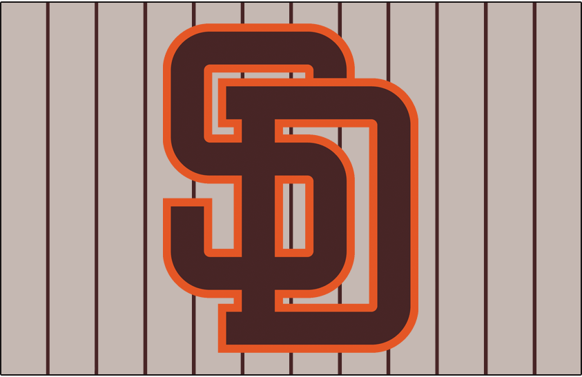 San Diego Padres Logo Jersey Logo (1985-1990) - (Road) Interlocking SD in brown with orange outline on brown pinstripes SportsLogos.Net