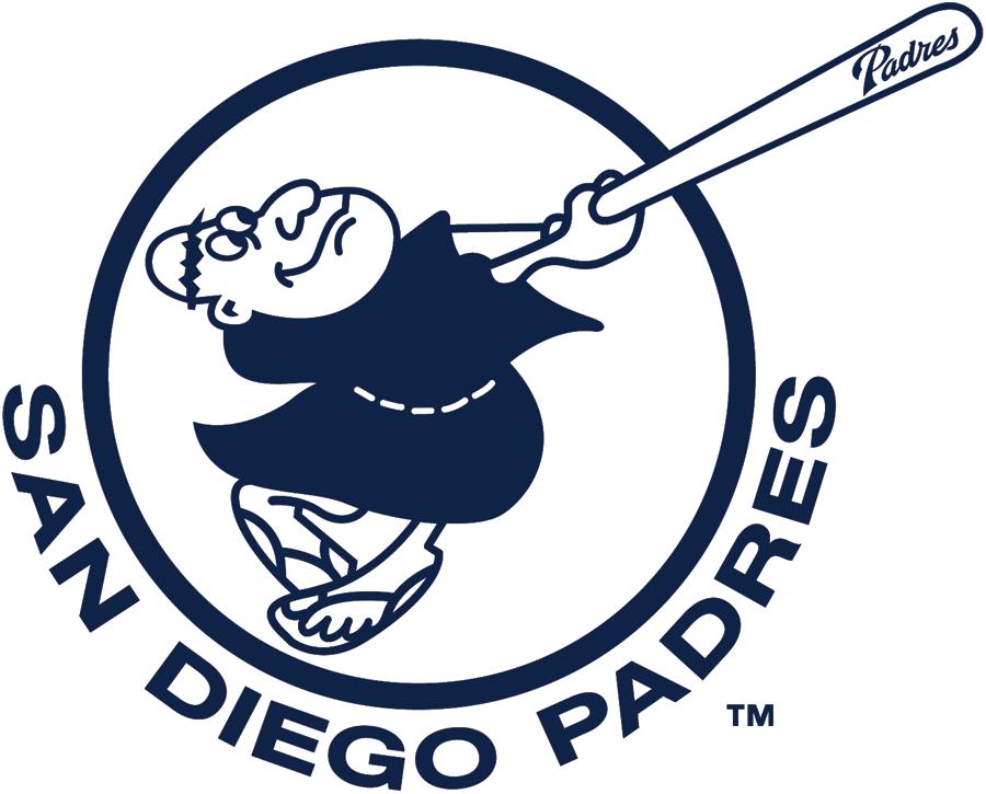 San Diego Padres Logo Alternate Logo (2012-2019) - Swinging Friar logo in navy and white with Padres script on bat barrel SportsLogos.Net