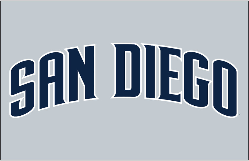 San Diego Padres Logo Jersey Logo (2012-2019) - (Road) San Diego arched in navy with a white outline on grey SportsLogos.Net
