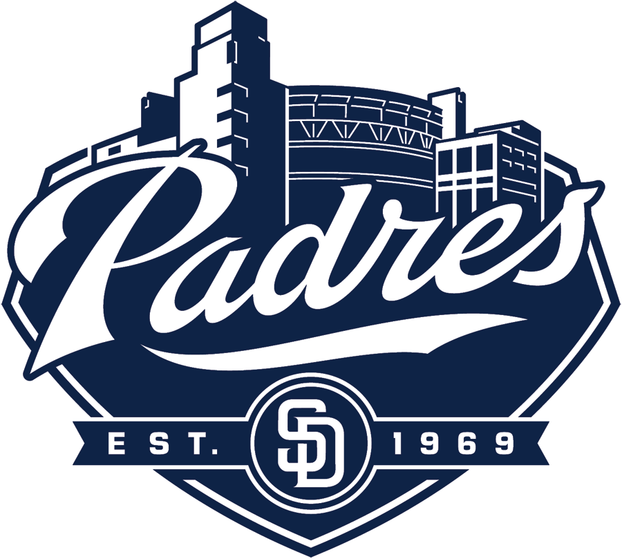 San Diego Padres Logo Alternate Logo (2012-2019) - Padres script in white above interlocking SD logo on a navy and white graphical interpretation of PETCO Park in San Diego with EST. 1969 below. Worn on sleeve of road and alternate jerseys. SportsLogos.Net