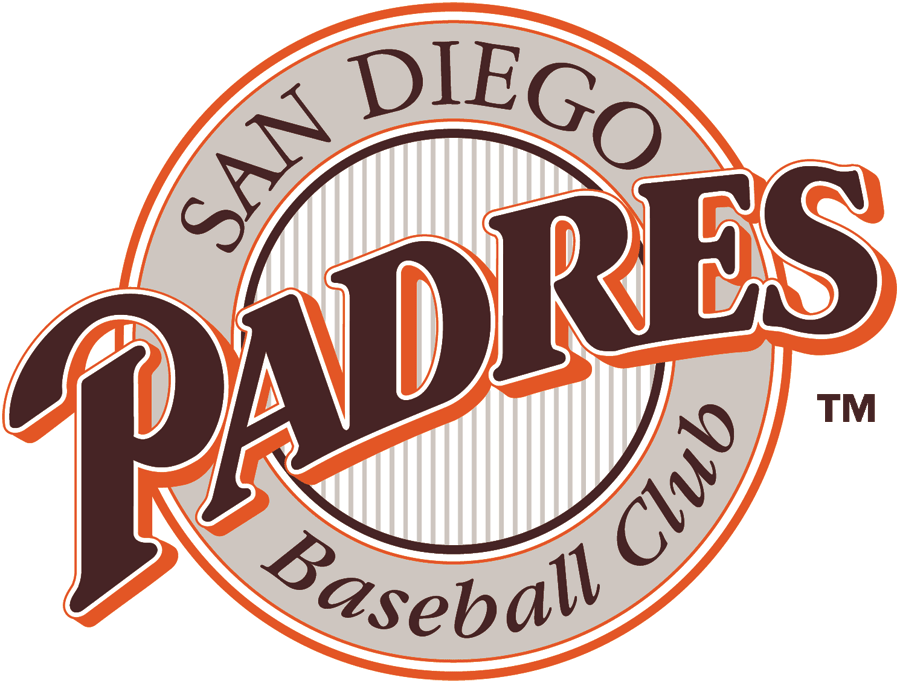 San Diego Padres Logo Primary Logo (1990) - Brown Padres script in tan ring with striped center SportsLogos.Net
