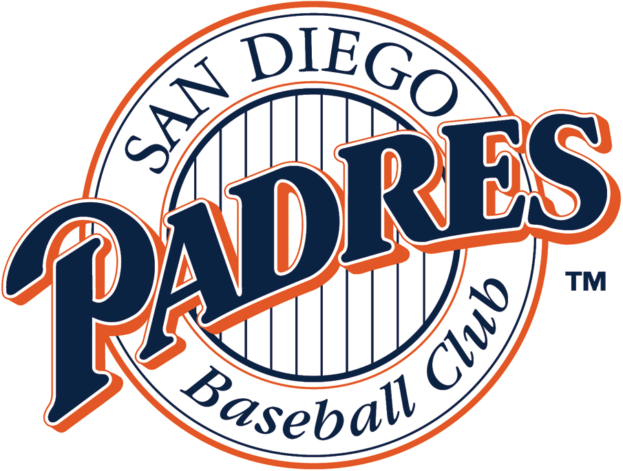 San Diego Padres Logo Primary Logo (1992-2003) - Blue Padres script in white ring with striped center SportsLogos.Net