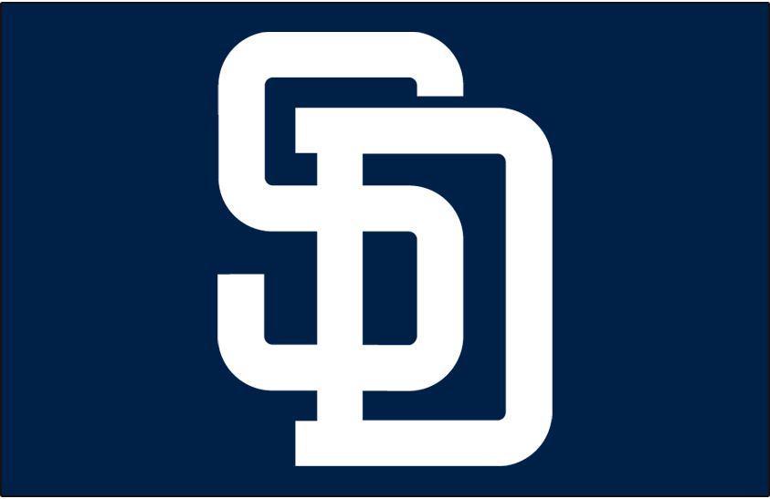San Diego Padres Logo Cap Logo (1998-2003) - Interlocking SD in white on blue. Worn with Padres alternate uniform from 1998-2003 SportsLogos.Net