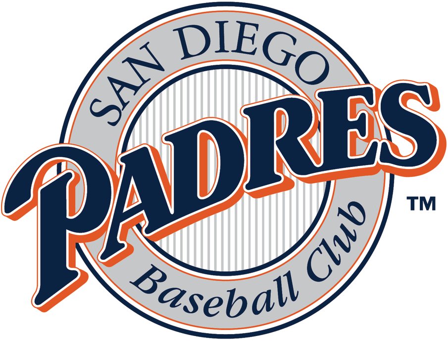 San Diego Padres Logo Primary Logo (1991) - Blue Padres script in silver ring with striped center SportsLogos.Net