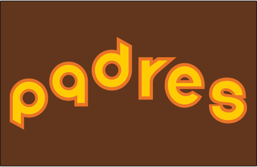 San Diego Padres Logo Jersey Logo (1980-1984) - (Road) Padres in yellow lowercase lettering with orange outline on brown SportsLogos.Net