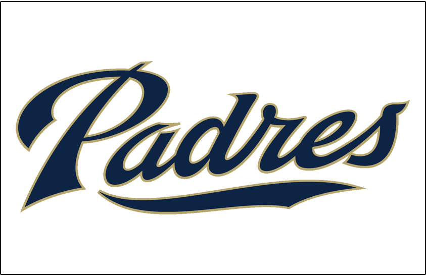 San Diego Padres Logo Jersey Logo (2012-2015) - (Home) Padres in navy with a sand-colored outline on white SportsLogos.Net