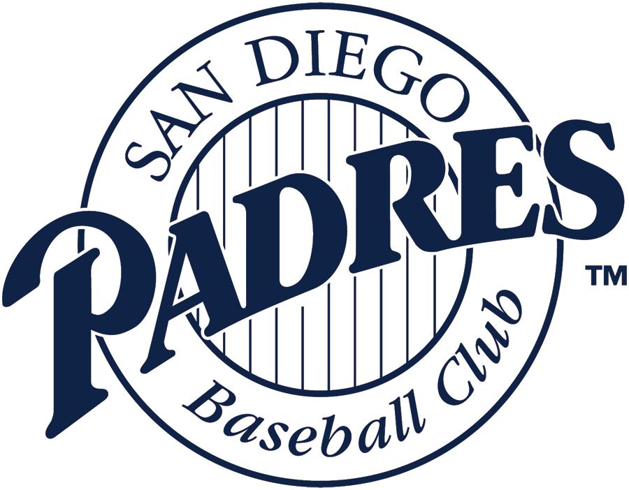 San Diego Padres Logo Alternate Logo (2000-2003) - Blue Padres script in white ring with striped center SportsLogos.Net