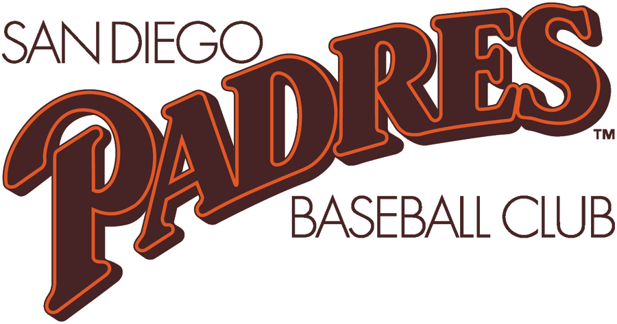 San Diego Padres Logo Primary Logo (1985) - Padres script sloped in brown with orange outline between