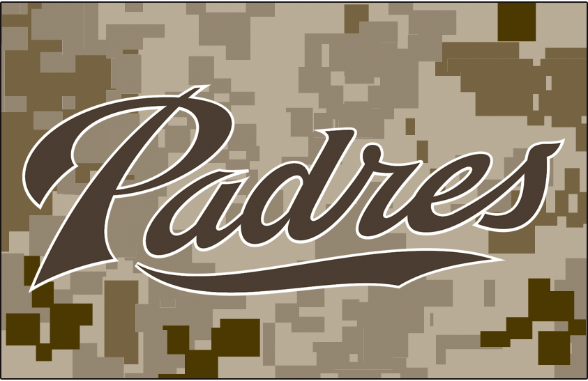 San Diego Padres Logo Jersey Logo (2011-2015) - (Alt) Padres in camouflage brown on digital camouflage SportsLogos.Net