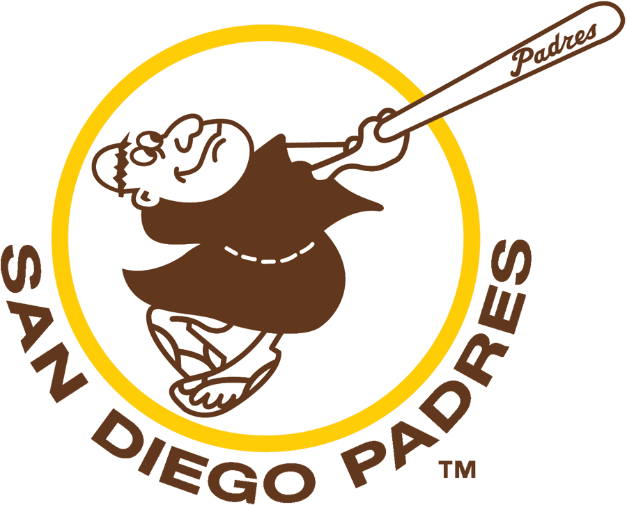 San Diego Padres Logo Primary Logo (1969-1984) - A friar in brown robe swinging a baseball bat in a circle SportsLogos.Net