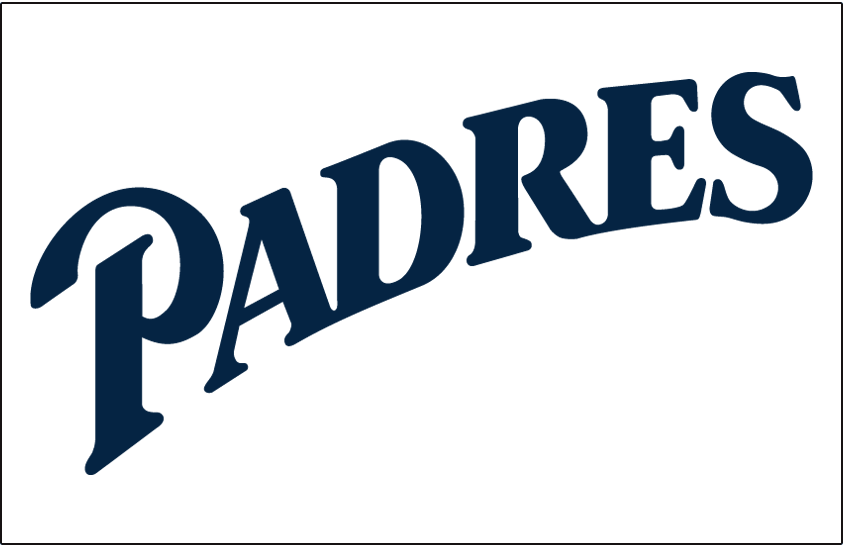 San Diego Padres Logo Jersey Logo (1999-2003) - Padres script sloped in blue on white, worn on Padres alternate jersey from 1999 through 2001, promoted to home jersey for 2002 and 2003 SportsLogos.Net