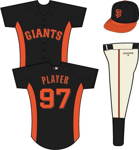 San Francisco Giants Uniform Practice Uniform (2013) - Giants in orange with a black outline and a gold shadow on a black uniform with orange side panels SportsLogos.Net