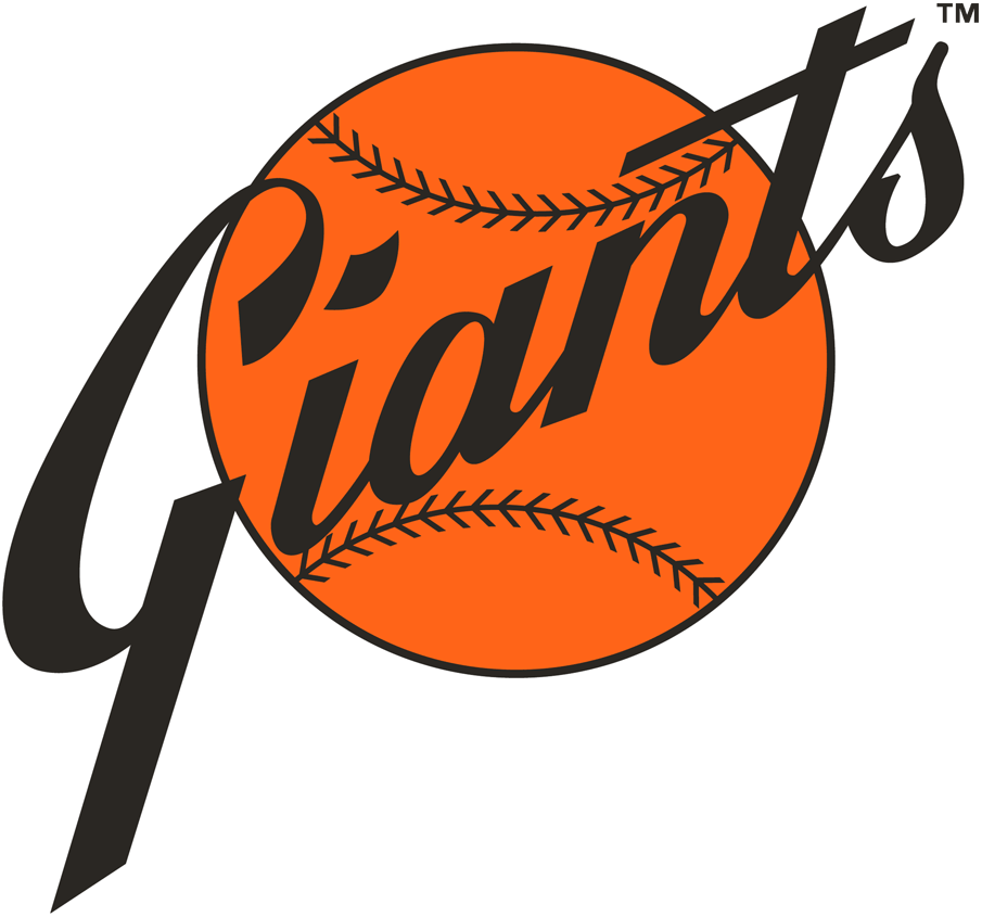 San Francisco Giants Logo Primary Logo (1973-1982) - Giants in black script on an orange baseball SportsLogos.Net