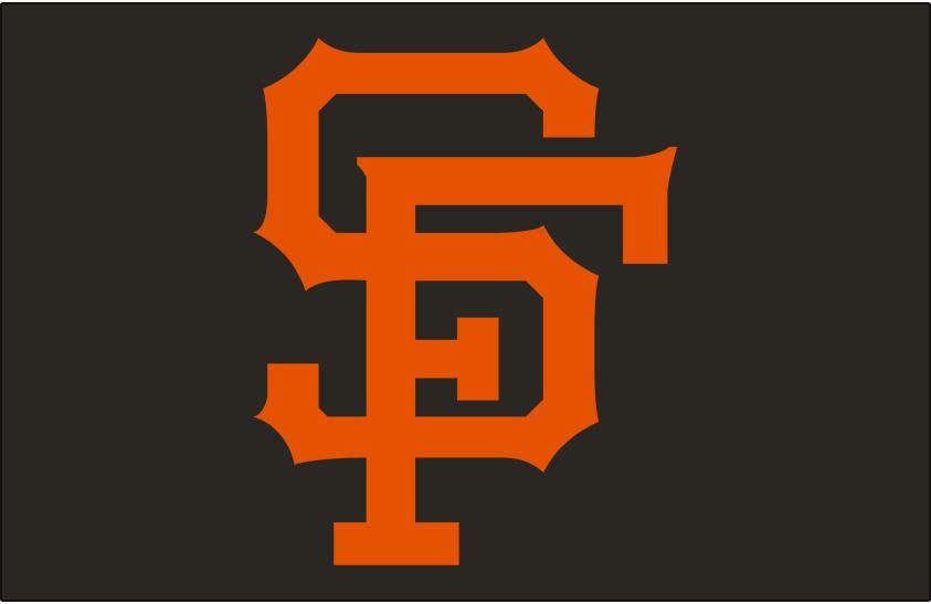 San Francisco Giants Logo Cap Logo (1958-1972) - Interlocking SF in orange on black SportsLogos.Net