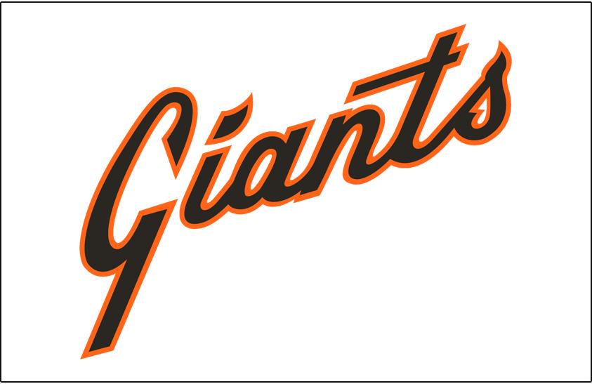 San Francisco Giants Logo Jersey Logo (1977-1982) - (Home) Giants scripted diagonally in black with an orange outline SportsLogos.Net