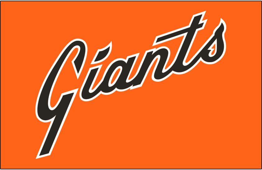 San Francisco Giants Logo Jersey Logo (1978-1982) - Giants scripted diagonally in black with a white outline on orange, worn on alternate orange jersey from 1978 through 1982 SportsLogos.Net